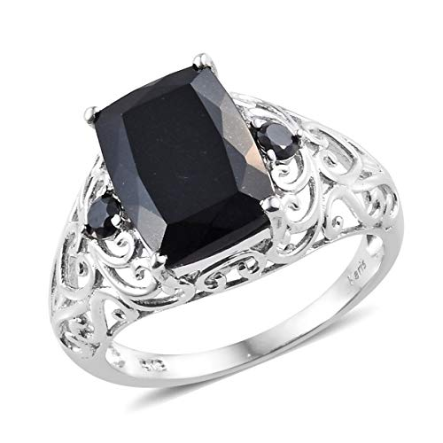 Shop LC Delivering Joy Black Tourmaline Cubic Zircon CZ Black Statement Ring for Women Jewelry Gift Size 10 Cttw 6