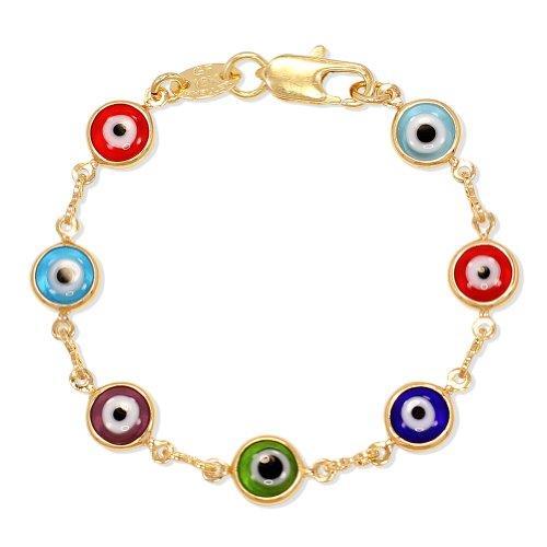 """Gold Plated 14k Murano Multicolor Evil Eye Greek Turkish Bracelet Children 4.5"""""""