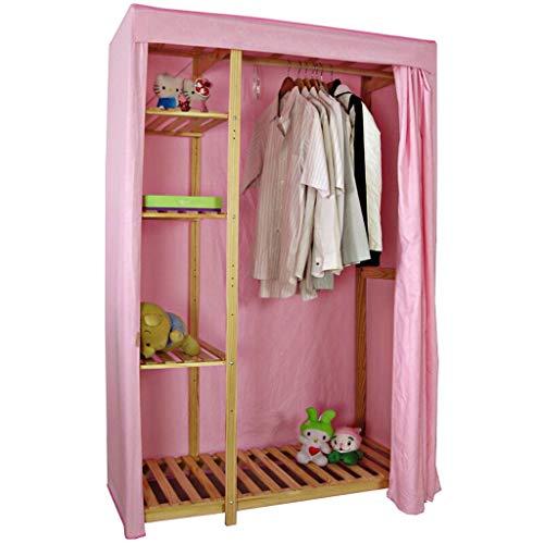 (Byx- Cloth Wardrobe Storage Clothes Multi-Layer Locker Combination Cabinet Oxford Cloth Folding Cabinet Home Textile (Color : Pink))