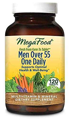 MegaFood - Men Over 55 One Daily, Multivitamin Support for Healthy Energy Production and Immunity with Vitamins C and D3, and Methylated Folate and B12, Vegetarian, Gluten-Free, Non-GMO, 120 Tablet