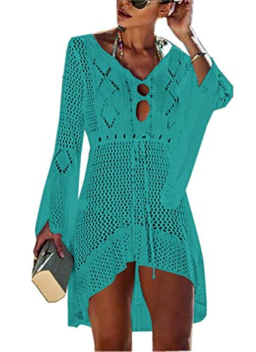 - FaroDor Women Sexy Flare Sleeve Swimsuit Cover Up Crochet Hollow Out Bathing Suit Beach Dress Green