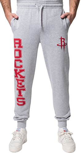 NBA Houston Rockets Men's Jogger Pants Active Basic Soft Terry Sweatpants, Large, Gray
