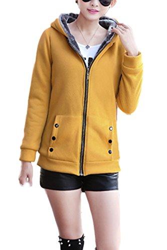 Casual con capucha lana abrigo abrigos de la mujer con la piel Yellow