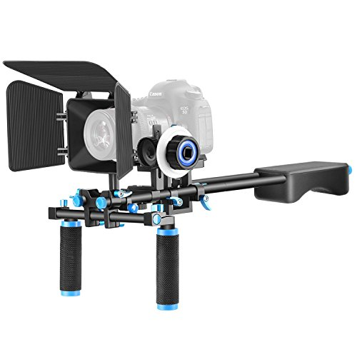 Neewer Aluminum Alloy Film Movie Video Making System Kit for Canon Nikon Sony and Other DSLR Cameras Video Camcorder, Includes: (1) Shoulder Rig, (1) Follow Focus and (1) Matte Box (Black+Blue)