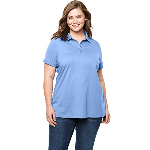Woman Within Women's Plus Size Perfect Polo Shirt - French Blue, 1X
