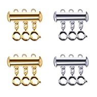 Sunshane 4 Pack 3 Strands Slide Lock Clasps Connectors for Layered Bracelet Necklace Jewelry Crafts (Silver and Gold)