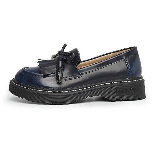 Meeshine Damen Leder Slip On Flache Halbschuhe Schuhe Fringe Low Heel Loafers Schuhe Blau