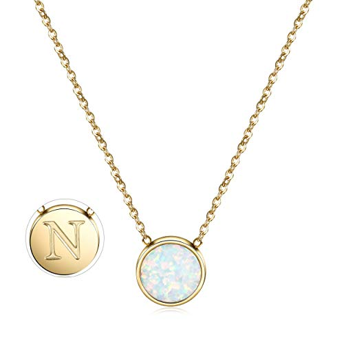 CIUNOFOR Opal Necklace Gold Plated Round Disc Initial Necklace Engraved Letter N with Adjustable Chain Pendant Enhancers for Women Girls