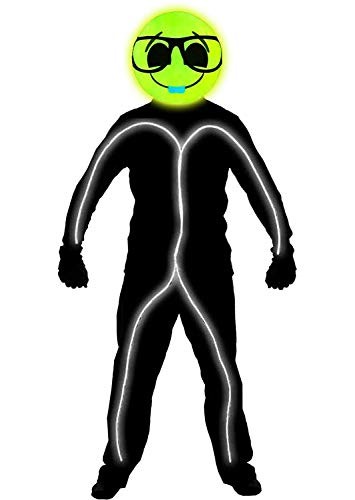 GlowCity Light Up Super Bright Nerd Emoji Stick Figure Costume for Parties Lighting & Mask Kit - Clothing Not Included - White - Small 3-5 FT Tall ()