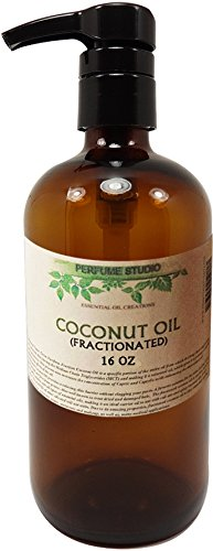 Fractionated Organic Coconut Oil; Amber Glass Pump Bottle. A Daily Rejuvenating Skin Moisturizer, Dry Hair Treatment, Carrier Oil, Aromatherapy and Massage Oil. (FRACTIONATED COCONUT OIL, 16 OZ) by Perfume Studio