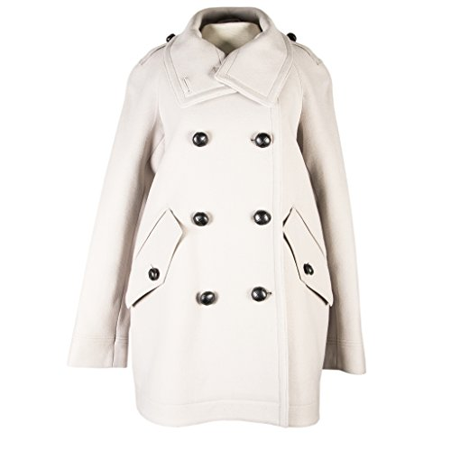 Burberry Brit Women's Babblebrook Double Breasted Wool Blend Coat Light Grey