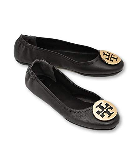 (Tory Burch Minnie Leather Travel Ballet Flat (7, Perfect Black / Gold))