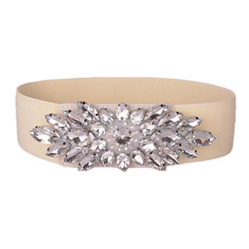Dorchid Women Wide Elastic Crystal Belts Rhinestone Diamond Floral Stretch Plus Size Waistband for Ladies Beige White L