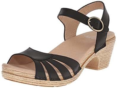Dansko Women's Marlow Heeled Sandal, Black Full Grain, 36 EU/5.5-6 M US