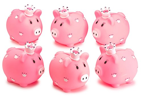 (Kicko Piggy Bank - 6 Pack 3.5 Inch, Little Princess Pink Coin Bank, for Kids Money Collections and Savings - Makes a Perfect Unique Gift, Nursery Decor, Keepsake )