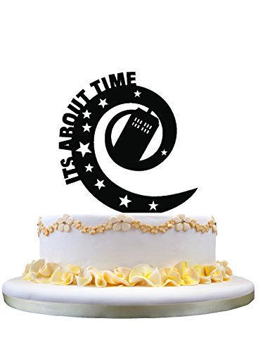 It's about time wedding cake topper- party decor, monogram cake topper for wedding anniversary gifts (Wedding Anniversary Centerpieces)