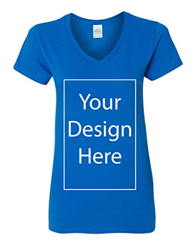 V-Neck Ladies Add Your Own Text Design Custom Personalized T-Shirt Tee (X-Large, Royal Blue)