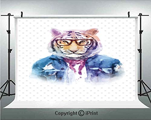 (Quirky Decor Photography Backdrops Intellectual Tiger with Scarf Torn Denim Jacket and Glasses Watercolor Artwork Decorative,Birthday Party Background Customized Microfiber Photo Studio Props,7x5ft,Mu)
