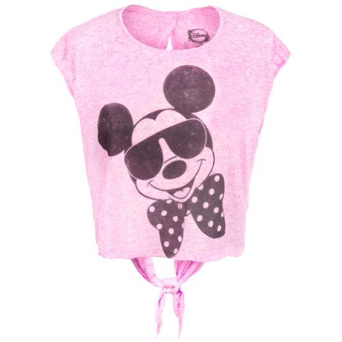 Mickey Mouse - Womens Mickey Mouse - Shades And Bowtie Juniors Open Tie-back Half T-shirt