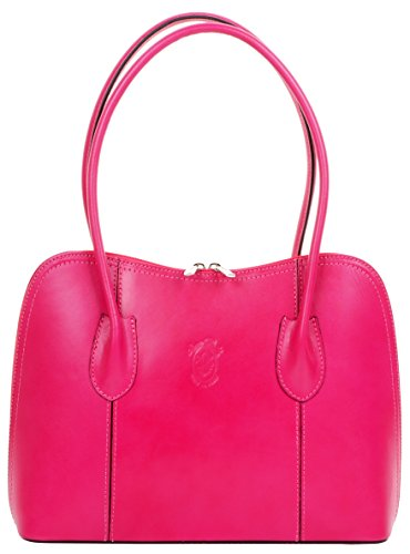 (Primo Sacchi Italian Smooth Leather Pink Classic Long Handled Handbag Tote Grab Shoulder Bag)
