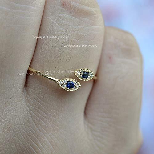 Genuine Blue Sapphire Gemstone Pave SI Clarity G Color Diamond Engagement Evil-Eye Cuff Band Ring minimalist jewelry ()