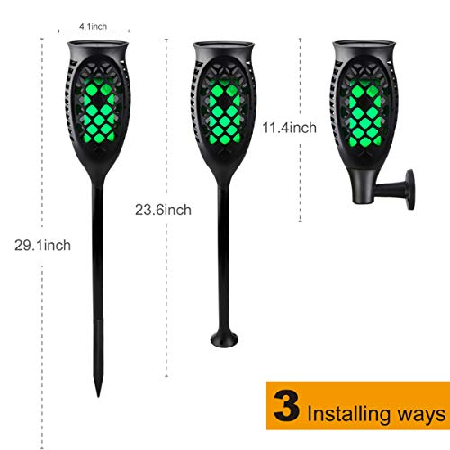 Juhefa Solar Lights Outdoor, Solar Torch Light Green Flickering Flame 99 LED Waterproof Garden Lighting Pathway Patio Landscape Decoration, 3 Modes & 3 Installation Ways, Dusk to Dawn Auto On/Off (4) by Juhefa (Image #5)