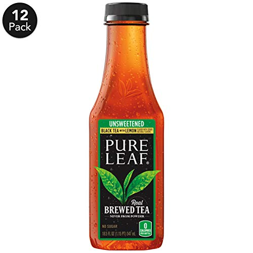 Pure Leaf Iced Tea, Unsweetened Lemon, Real Brewed Black Tea, 0 Calories, 18.5 Ounce (Pack of 12)