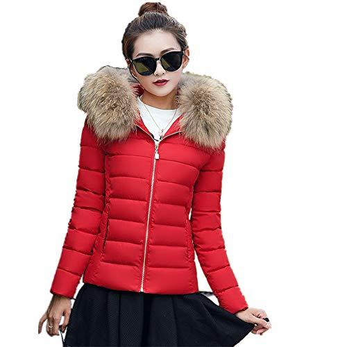 Thicker Coat Collar Coat Women Casual with Overcoat Women Parka Coat XL Coat Winter Fur Jacket Winter Women Hood Warm Red Morwind Puffer Hooded Winter Fur Slim Rxq7Yzff