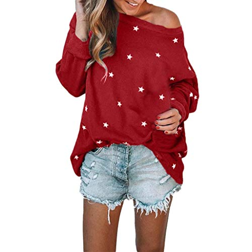 Kansas Casual Long Sleeve Blouse for Women O Neck Cotton Star Pattern Sweat T-Shirt Blouses Tops(8,Red) ()