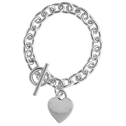 Sterling Silver Heart Tag Bracelet Oval Links Heavy Weight Handmade, 18 inch long (Tag Silver Bracelet Sterling Oval)