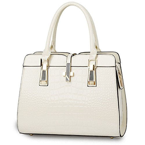 Tote bag Crocodile High Classic White and women grade Leather Bright American Patent European and Style Functional Pattern shoulder Handbag ladies Handbag for Cream B8WnRBOT