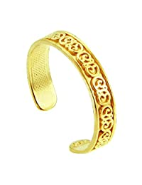 Fancy Floral Yellow Gold Toe Ring (10K Gold)
