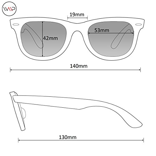 Pro nbsp;polarizadas Wayfarer lentes Gafas reflectantes de WearMe prémium con nbsp;estilo sol Rojo clásico Color HPxdYwq