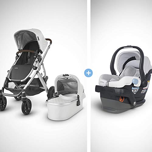 UPPAbaby Vista Stroller-Bryce (White Marl/Silver/Chestnut Leather)+MESA Infant Car Seat-Bryce(White & Grey Marl), -