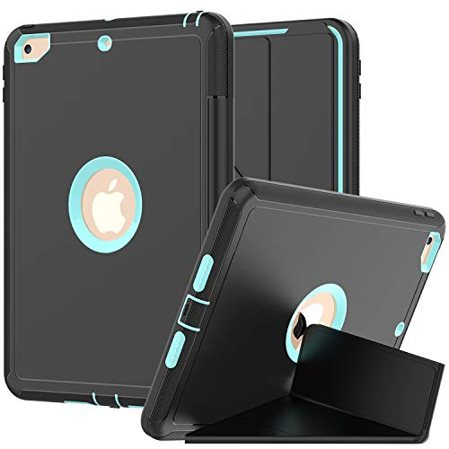 New iPad 9.7 Case 2018/2017- Full-Body Kids Case With Trifold Smart Cover Stand and Auto Sleep/Wake Dual Layer Heavy Duty Protective Defense Cover for Apple New iPad 9.7'' inch [Black+Lightblue]