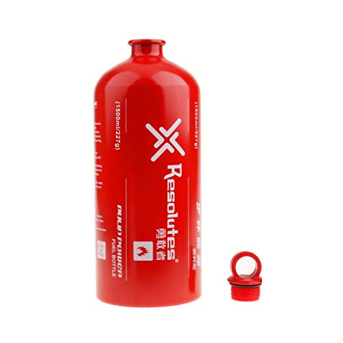 Sanmum Outdoor Aluminium Camping Gas Fuel Oil Empty Bottle for Picnic Barbecue 1000ml/1500ml/750ml/500ml (1500ml)