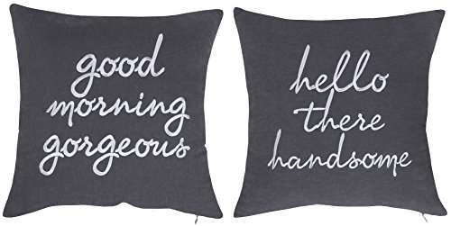 "DecorHouzz Pillowcases Hi Handsome Good Morning Gorgeous Set of 2 Embroidered Pillow Cover Cushion Cover Throw Pillow Decorative Pillow Wedding Couple He and She Anniversary Gift 18""X18"" (Grey)"
