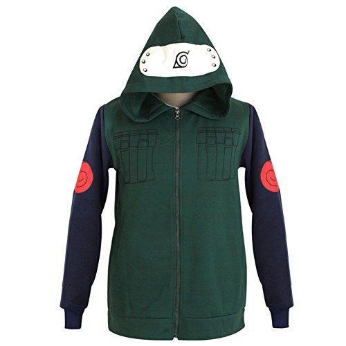 Naruto Kakashi Hatake Cosplay Costume (Mens Womens Naruto Cosplay Costume Kakashi Hatake Hoodie Zipper Anime Hoody Coat)