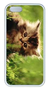 iPhone 5S Customized Unique Landscape Flowers Little Kitten New Fashion TPU White iPhone 5/5S Cases