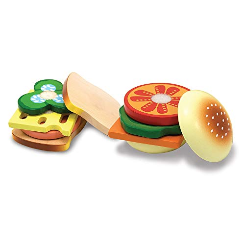 Melissa & Doug Sandwich-Making Set (Wooden Play Food, Wooden Storage Tray, Materials, 16 Pieces)