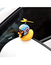 Creative Mini Cute Yellow Duck with Helmet Propeller Rubber Windbreaker Duck Squeeze Sound Internal Car Decoration Child Kid Toy