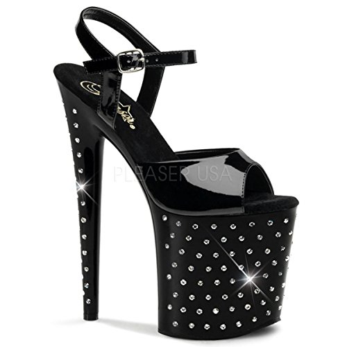Pleaser Women's Stdus809/B/M Platform dress Sandal, Black Patent/Black, 7 M -