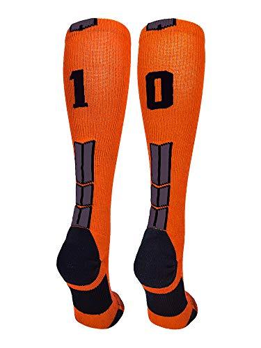 MadSportsStuff Orange/Black Player Id Over The Calf Number Socks (#10, Small)
