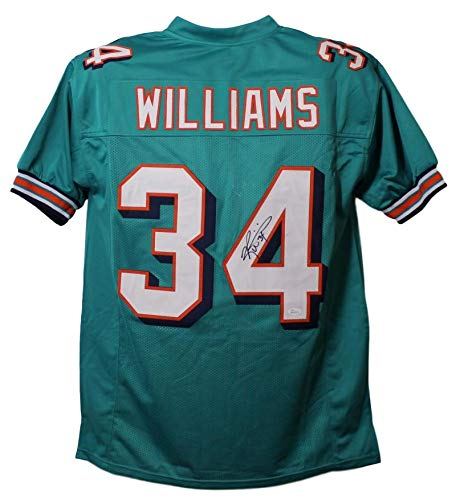 Ricky Williams Autographed/Signed Miami Dolphins Teal XL Jersey JSA