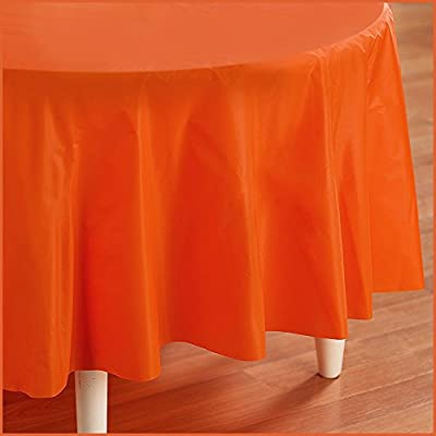 Creative Converting - Sunkissed Orange (Orange) Round Plastic Tablecover from Creative Converting