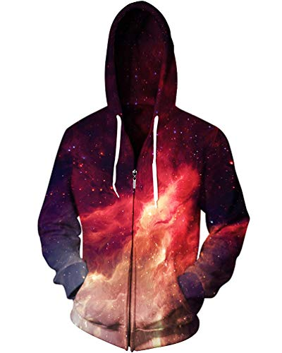 - Sankill Unisex 3D Galaxy Zipper Hoodie Sweatshirt Fleece Pullover Hooded Shirts Pocket