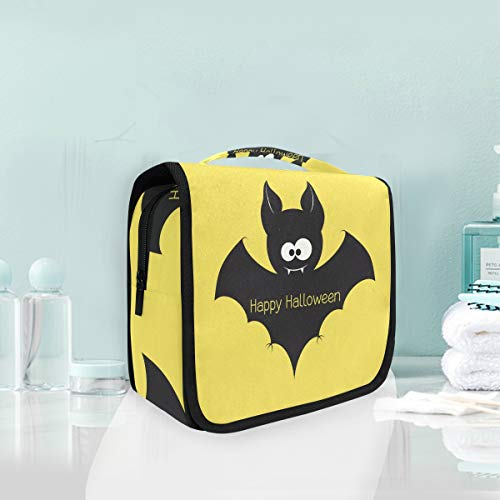 (Hanging Toiletry Bag Happy Halloween Bat Portable Cosmetic Makeup Travel Organizer for Men & Women with Sturdy)