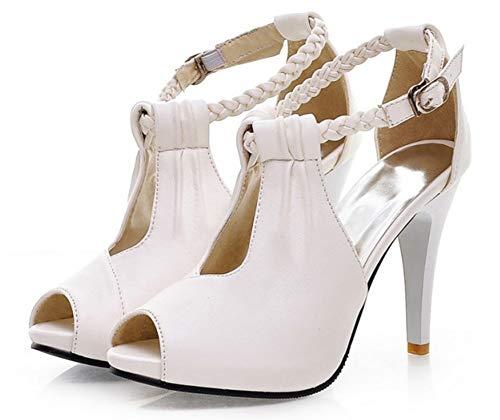 Bal Femme Boucle Poisson avec de Sandales Fille Tressé Aisun Blanc Bouche Sexy 06WZgTq4