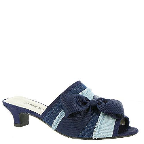 Proxy Womens Tiffney Open Toe Casual Slide Sandals Denim-blue-stripe