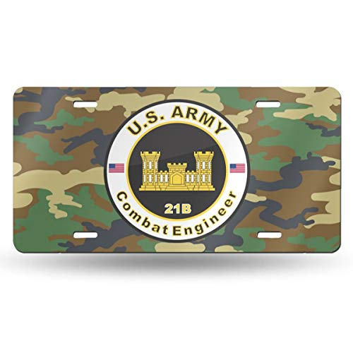 NCJEI NONGE Army MOS 21B Combat Engineer Retro License Plates for Car Decoration 6 Inch X 12 Inch ()
